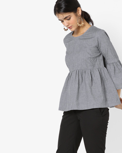 Crew-Neck Top With Bell Sleeves By Project Eve WW Casual ( Grey )