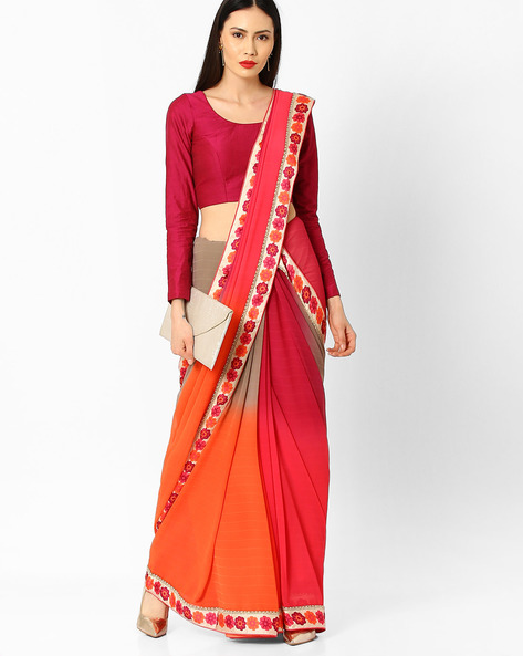 Ombre-Dyed Saree With Contrast Border By Arissa ( Multi )