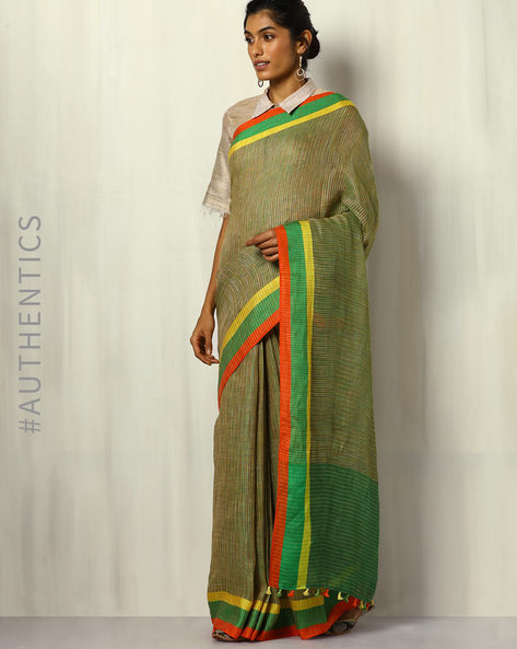 Handloom Pure Linen Saree With Fringes By Indie Picks ( Green )