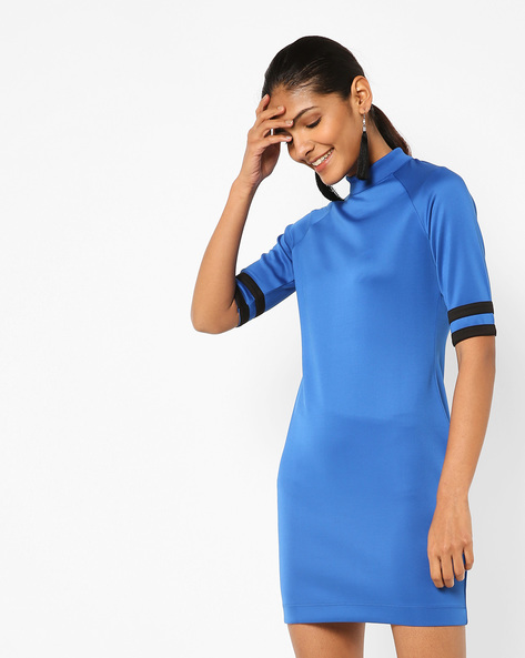 Bodycon Dress With Contrast Tapings By AJIO ( Blue )