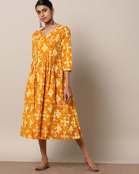 Printed Cotton Gathered Long Dress By Seasons ( Mustard )