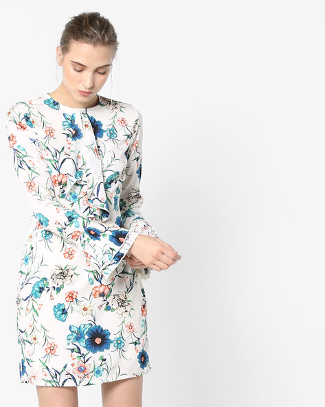 Floral Printed Dress With Bell Sleeves By Oxolloxo ( Multi )