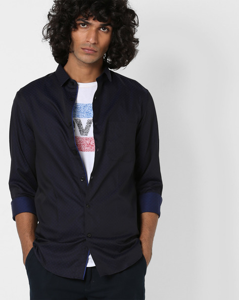 Printed Slim Fit Shirt With Patch Pocket By US POLO ( Navy )