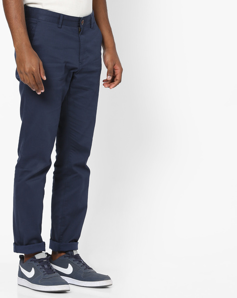 Tapered Flat-Front Chinos By NETPLAY ( Blue )