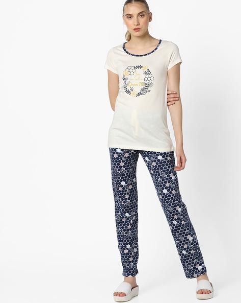 Printed T-shirt & Pyjama Set By Mystere Paris ( Blue )