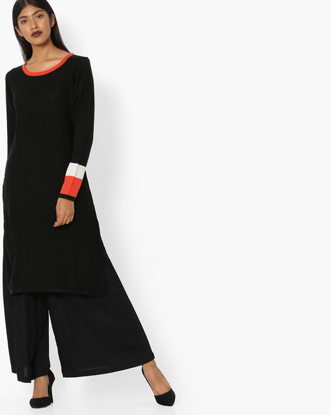 Sweater Dress With Contrast Cuffs By FUSION ( Black )
