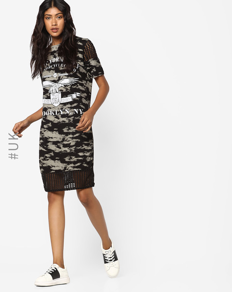 Printed Dress With Cut-Out Panels By INFLUENCE ( Khaki )