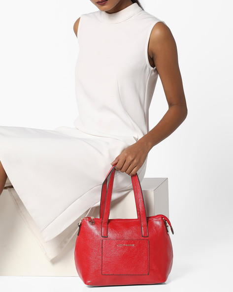 Textured Satchel Bag With Shoulder Handles By Lino Perros ( Red )