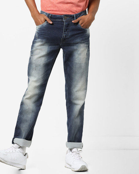 Lightly Distressed Mid-Washed Jeans By Jack & Jones ( Blue )