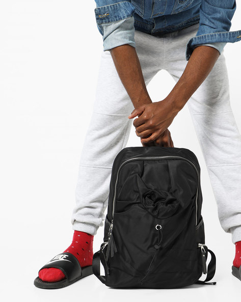 Textured Backpack With Toggle Closure By AJIO ( Black )