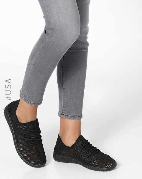 Mesh Lace-Up Casual Shoes By QUPID ( Black )