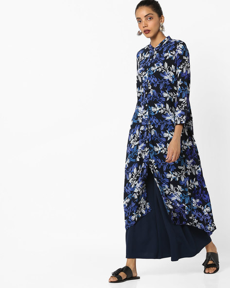 Floral Printed Straight Kurta By Project Eve IW Casual ( Blue )