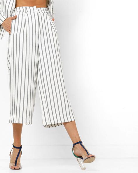 Striped Flat-Front Pants By Vero Moda ( White )