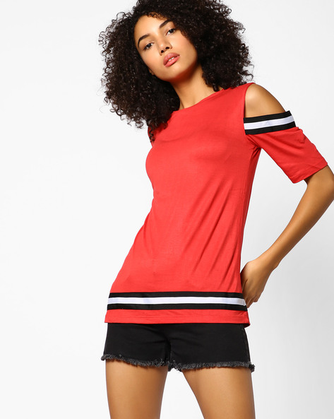 Crew-Neck Top With Cold-Shoulder Sleeves By AJIO ( Red )