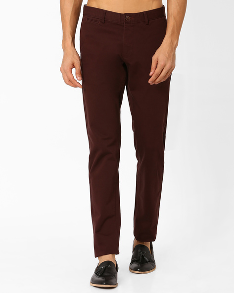 Tapered Fit Flat-Front Trousers By BASICS ( Brown )