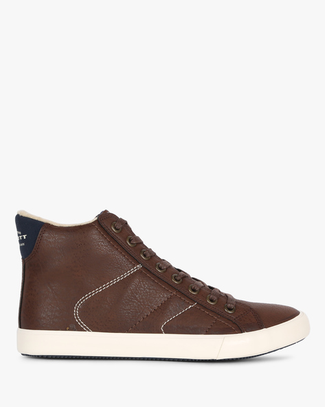 Panelled High-Top Casual Shoes By ALCOTT ( Brown )
