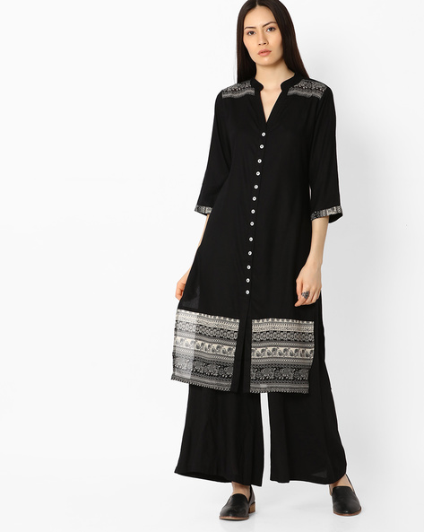 Cotton Kurta With Printed Panels By AYAANY ( Black )