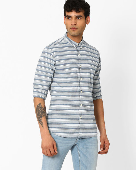 Striped Slim Fit Shirt By VOI JEANS ( Indigo )