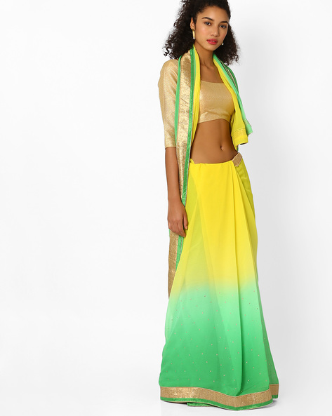 Ombre-Dyed Saree With Contrast Border By Viva N Diva ( Green )