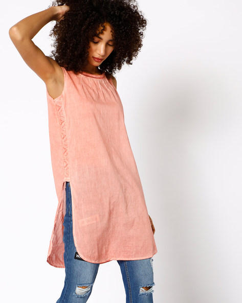 Tunic With Lace Detail By COLOUR ME ( Coral )