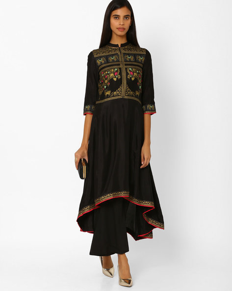 Printed Flared Kurta With Mandarin Collar By W ( Black )