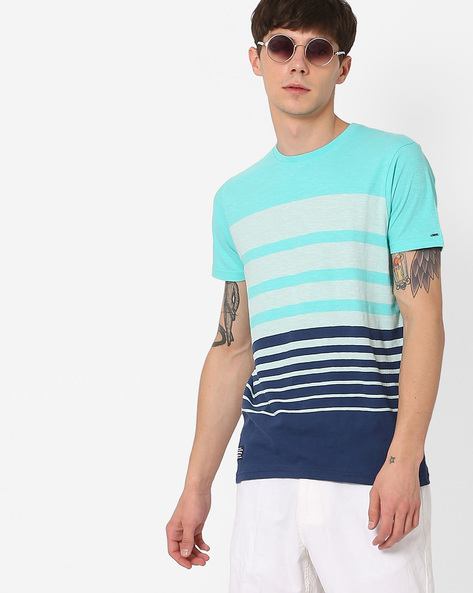 Striped Slim Fit Cotton T-shirt By Pepe Jeans ( Blue )