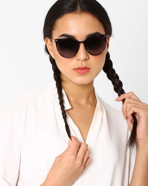 Polarised Cat-Eye Sunglasses By Macv ( Blue )