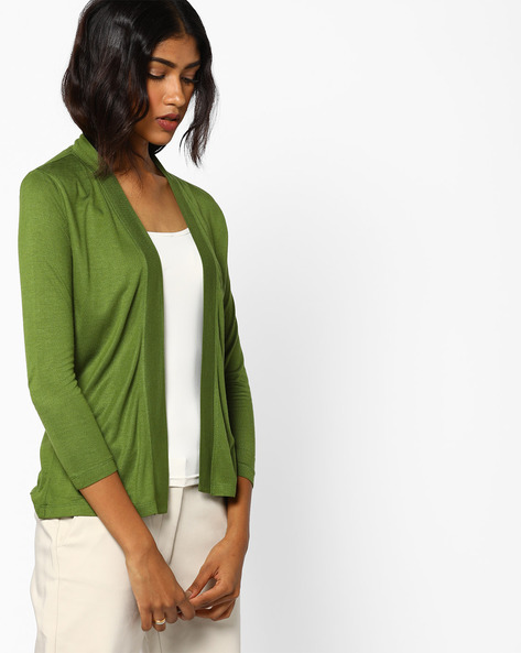 Open-Front Knitted Shrug By AJIO ( Olive )