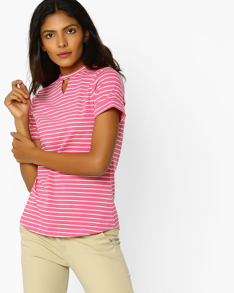Striped T-shirt With Keyhole Neckline By KRAUS ( Brtmulti )