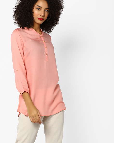 Short High-Low Kurti With Button Placket By Melange By Lifestyle ( Peach )
