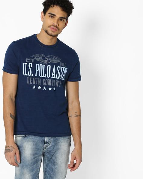 Graphic Print Crew-Neck T-shirt By US POLO ( Darkindigo )
