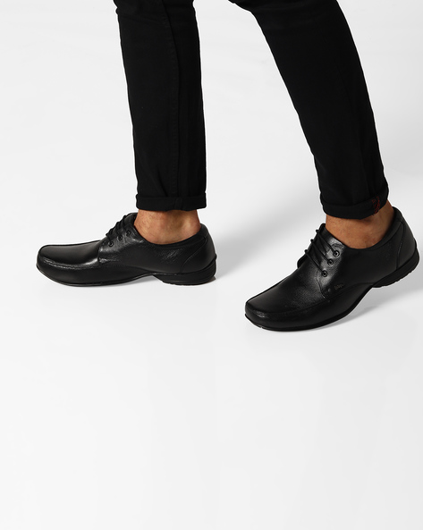 Genuine Leather Derby Shoes By Lee Cooper ( Black )