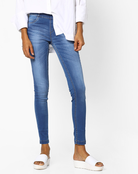 Skinny Fit Ankle-Length Jeggings By KRAUS ( Blue )