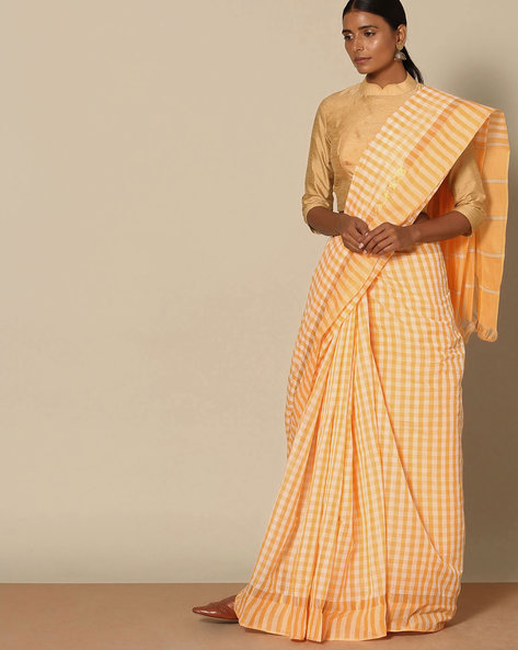 South Cotton Checked Saree With Zari Border By Indie Picks ( Yellow )