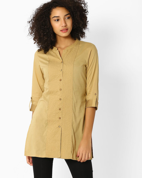 Pintuck Top With Roll-Up Tabs By AVAASA WORKWEAR ( Beige )