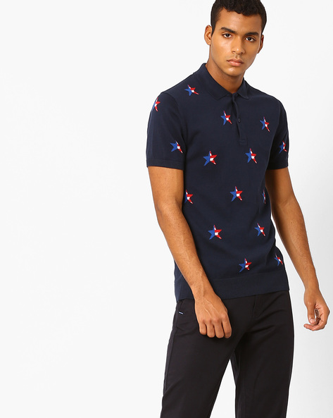 Star Print Polo T-shirt By US POLO ( Navy )