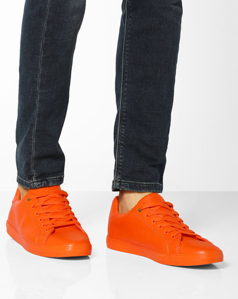 Low-Top Lace-Up Sneakers By UNITED COLORS OF BENETTON ( Orange )