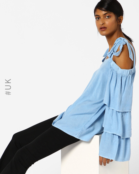 Shoulder Tie-Up Top With Bell Sleeves By NEON ROSE ( Blue )