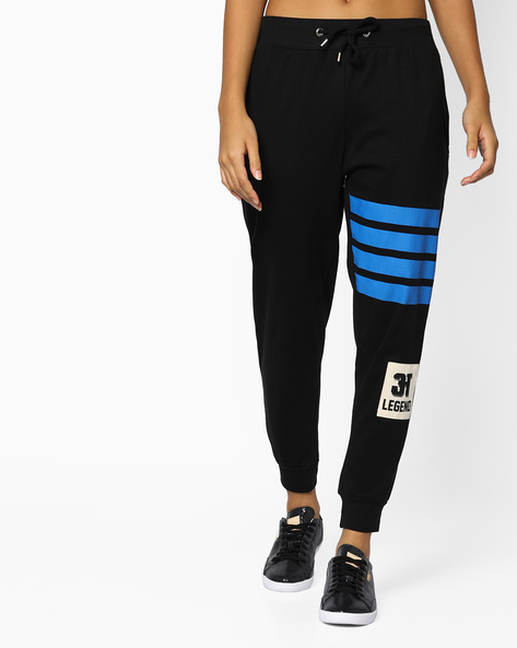 Printed Joggers With Drawstring Fastening By AJIO ( Black )