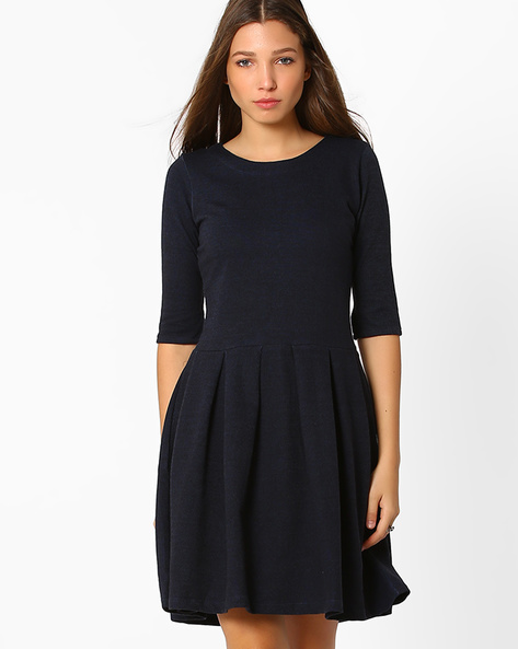 Fit & Flare Dress With Zip Closure By ANONYMOUS CO ( Ltblue )