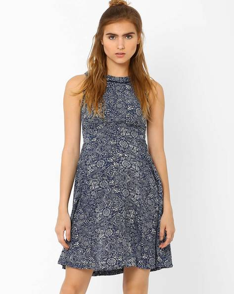 Printed Fit & Flare Dress By CHM ( Navy )