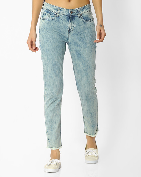 Acid-Washed Slim Fit Jeans By Blue Saint ( Green )