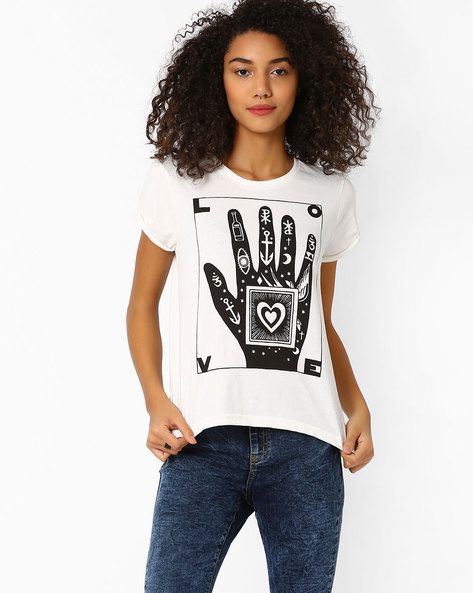 Graphic Print Cotton T-shirt By AJIO ( Offwhite )