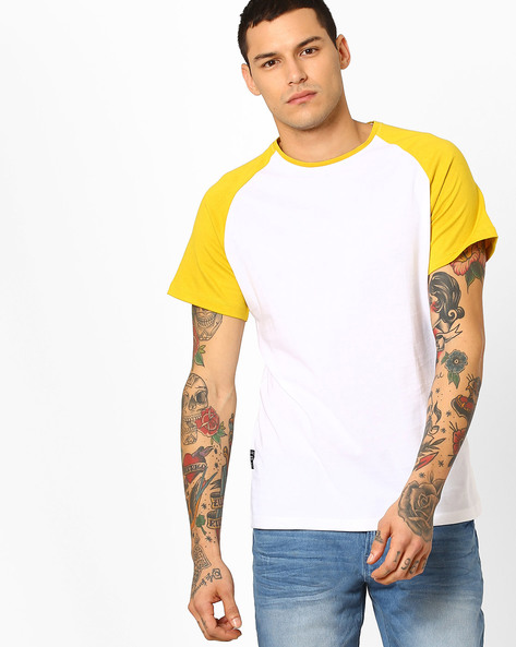 Crew-Neck T-shirt With Raglan Sleeves By Blue Saint ( Multi )