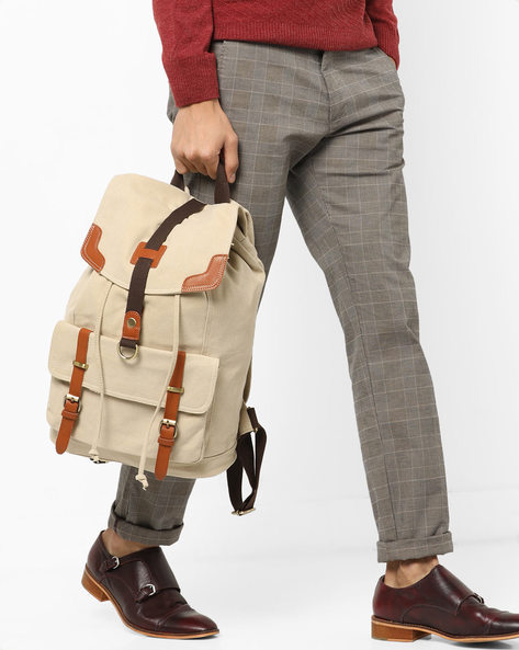 Laptop Backpack With Flap Closure By AJIO ( Cream )