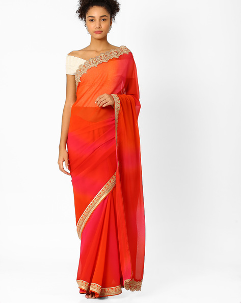 Ombre-Dyed Saree With Embroidered Border By Pihu ( Pink )
