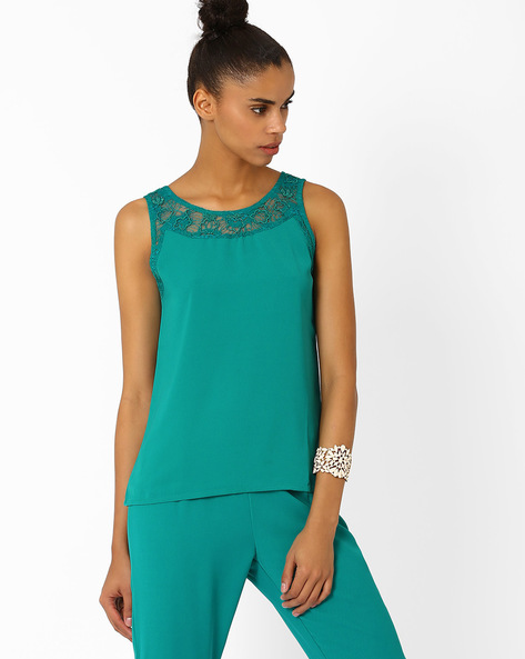 Sleeveless Top With Lace Yoke By AJIO ( Teal )