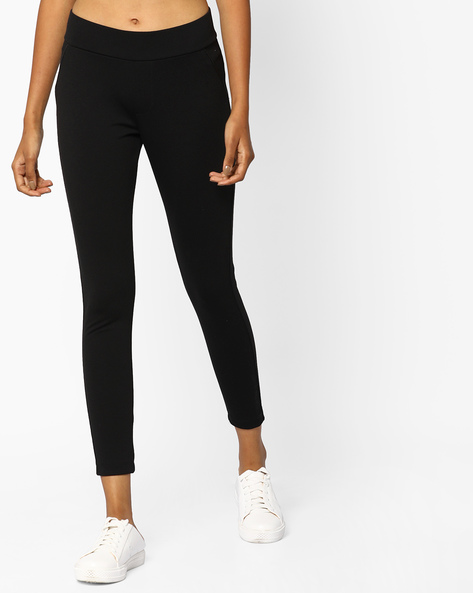 Cotton Leggings With Pockets By Ginger By Lifestyle ( Black )