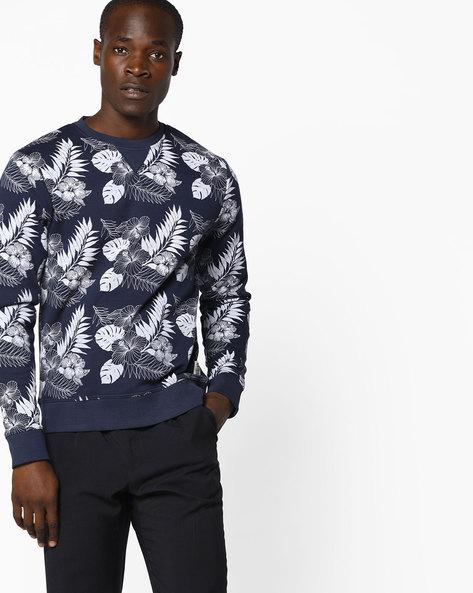 Tropical Print Crew-Neck Sweatshirt By FLYING MACHINE ( Assorted )