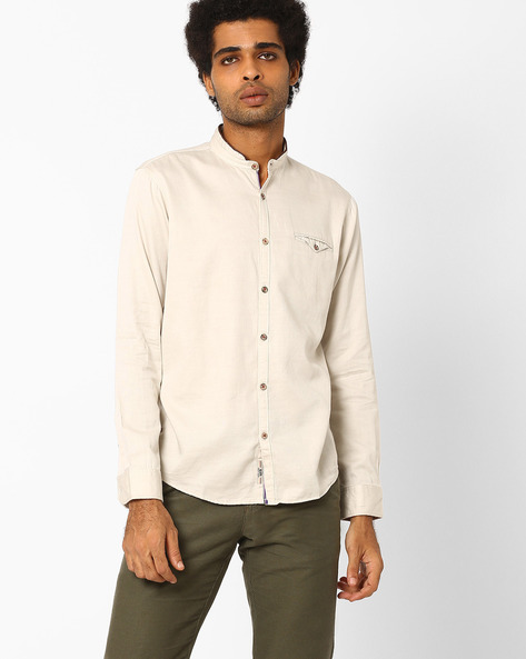 Slim Fit Cotton Casual Shirt By SIN ( Beige )